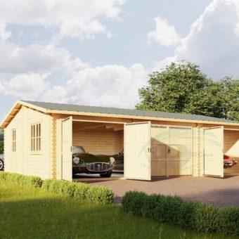 Trippel trä garage 54 m², 44 mm/66mm