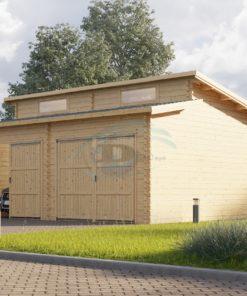 Twin modern trä garage 36m², 44mm