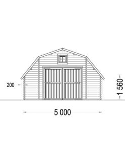 Trä garage Sawyer 30m² (5×6), 44mm - PLAN