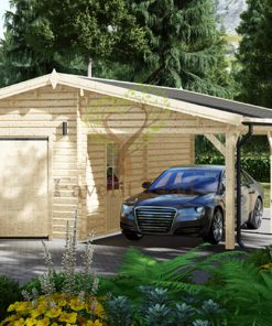 Trä Garage med Carport 40m², 44mm