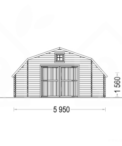 Trä garage Texas 36m², 44mm - PLAN