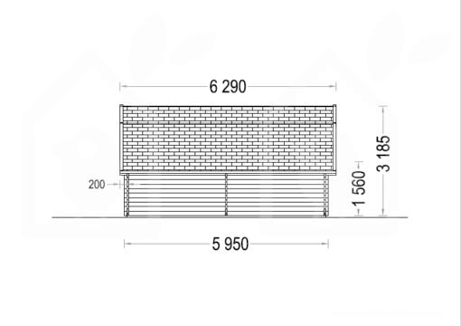 Trä garage Texas 36m², 44mm - PLAN