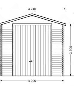 Garage för hög bil 32m², 44mm - PLAN