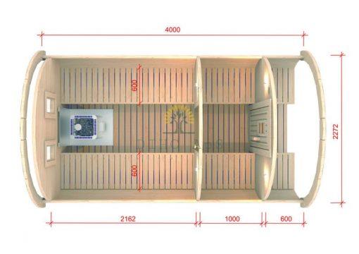 Bastutunna 4.0 m / Ø 2,27 (med 1 m omklädningsrum)