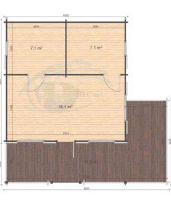 Sommarhus 36 m² Gustav, 44 mm_floor plan