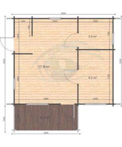 Sommarhus 31 m² Hakan, 44mm - floor plan