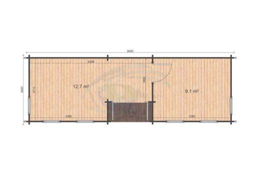 Attefallshus Helmand (3m x 9m), 44 mm: floor plan