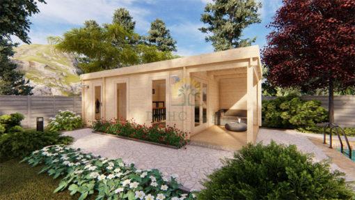 Moderne trädgårdshus 31,5m² Rico, 44mm