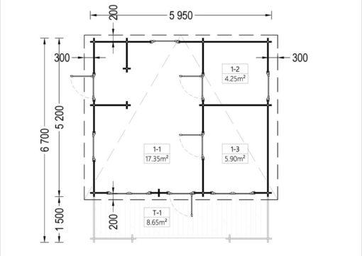 Timmerstuga med terrass ALTO platt tak 31m², 44mm_Plan