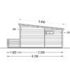 Timmerstuga med terrass ALTO platt tak 31m², 44mm_Right