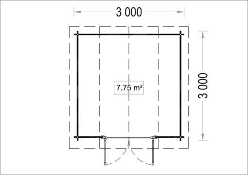 Timmerstuga ORLANDO 9 m² (3x3) 34mm_Plan