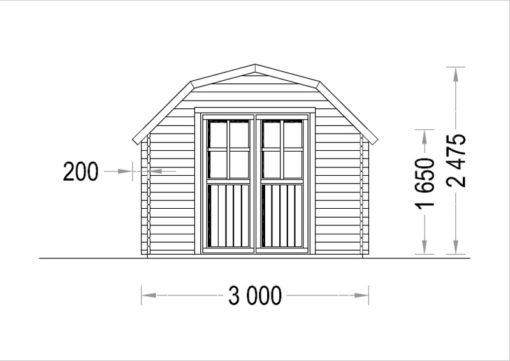 Timmerstuga ORLANDO 9 m² (3x3) 34mm_Front