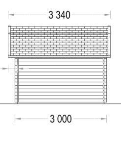 Timmerstuga ORLANDO 9 m² (3x3) 34mm_LeftTimmerstuga ORLANDO 9 m² (3x3) 34mm_Left