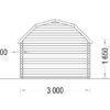 Timmerstuga ORLANDO 9 m² (3x3) 34mm_Back