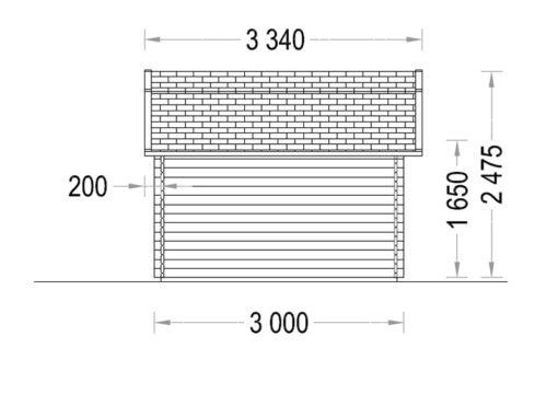 Timmerstuga ORLANDO 9 m² (3x3) 34mm_Right