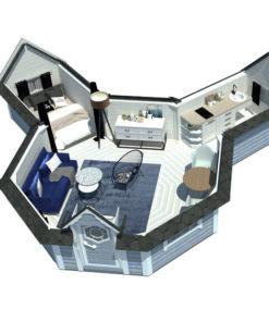 Camping stuga 16.5 m² med 2 förlängning