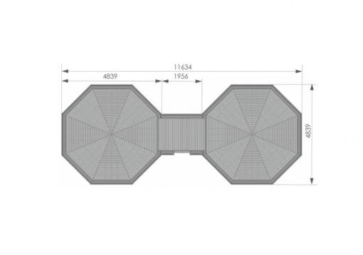 Camping stuga 16.5m² + 16.5m² - PLAN