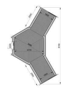 Camping stuga 9,2 m² med 2 förlängning - Plan