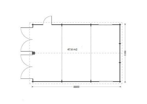 Dubbel trä garage 49.9m² - Plan