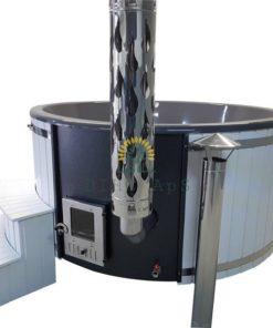 Lyxig badtunna (integrerad kamin)