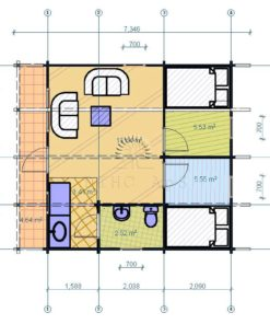 Sommarhus Baltic 6 m x 6 m, 68 mm_floor plan