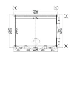 Friggebod Brighton 4 m x 3 m, 44 mm_floor plan
