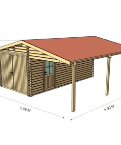 Trä garage med carport 6 m x 6 m, 44 mm_3 d