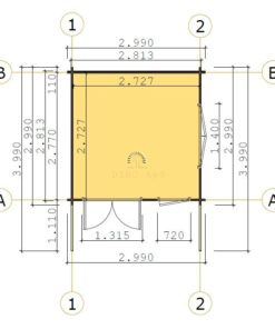 Friggebod Monaco 3 m x 3 m, 44 mm_floor plan