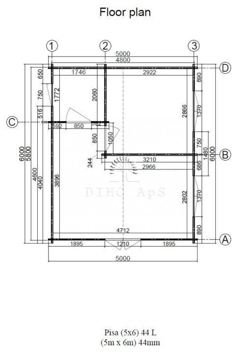 Sommarhus Pisa 5 m x 6 m, 44 mm__floor plan