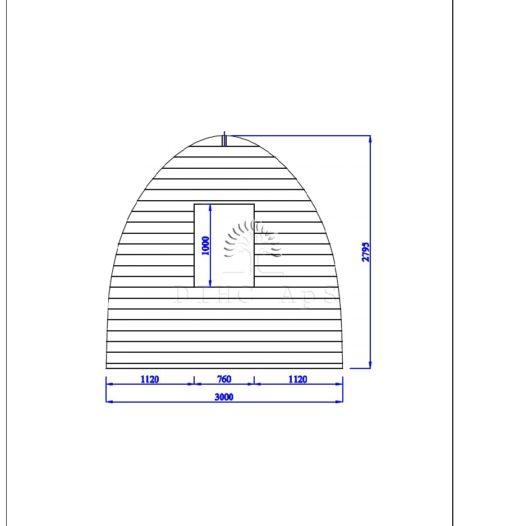 Friggebod Pod 3 m x 3 m, 44 mm__back wall