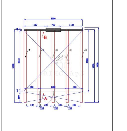 Friggebod Pod 3 m x 3 m, 44 mm__floor plan