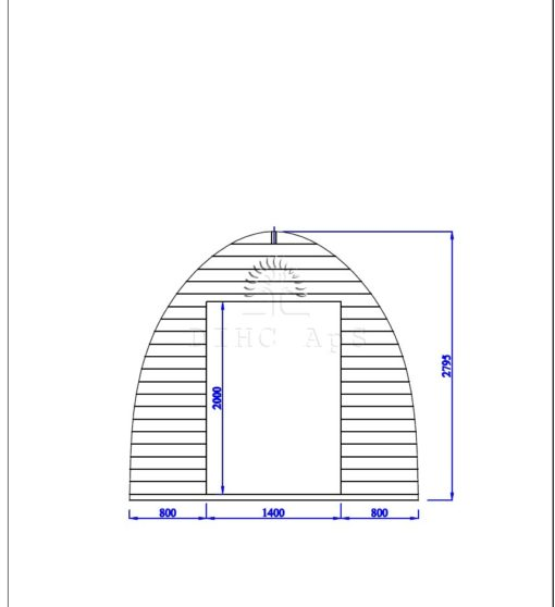 Friggebod Pod 3 m x 3 m, 44 mm_front wall