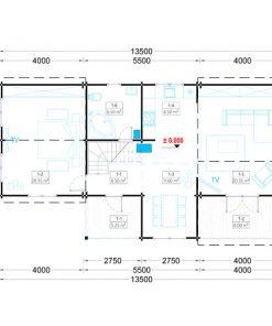 Sommarhus Holland 113 m² (13.5m x 7.5m), 66 mm
