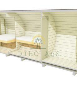 Camping tunna 2.2 x 5.4 m (med sideindgang och möbler)