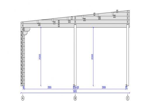 Dubbel carport platt tak Tivoli med friggebod (5,95 m x 7.5m), 44mm